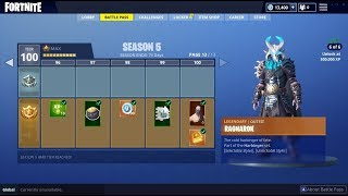 BUYING ALL 100 TIERS | Fortnite Season 5 Battle Pass ALL ITEMS UNLOCKED (RAGNAROK)