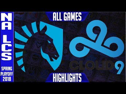 TL vs C9 Playoffs Highlights ALL GAMES | NA LCS Quarterfinal Spring 2018 | Team Liquid  vs Cloud 9