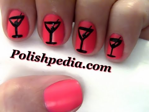 New Years Martini Nail Art