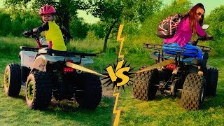 Power Wheels Tug of War on kids Quad Bike - Baby baker Den vs Funny Mom!