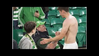 Celtic star gives disabled Celtic fan his shirt after accident