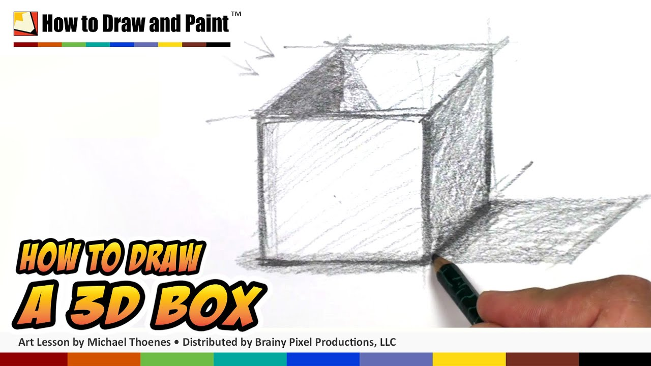 How To Draw 3d Shapes 3d Box Drawing Lesson Youtube