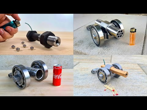 Top 4 Mini Cannons. Shooting Compilation.