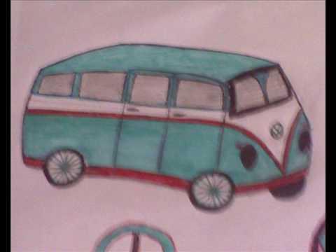 vw bus drawing