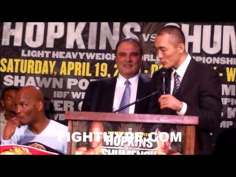 BERNARD HOPKINS TAKES TITLES FROM BEIBUT SHUMENOV AT FINAL PRESSER