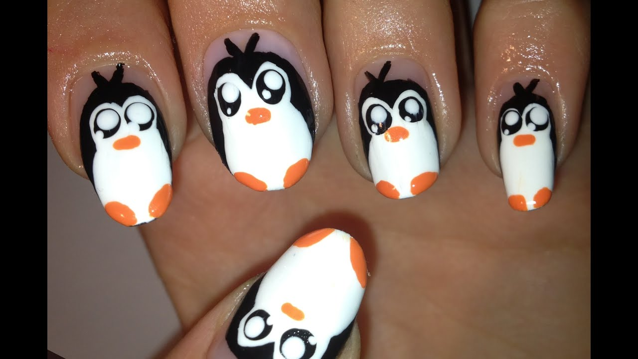 Cute Penguin Nails Pingwinki