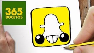 COMO DIBUJAR LOGO SNAPCHAT KAWAII PASO A PASO - Dibujos kawaii faciles - How to draw a Logo Snapchat