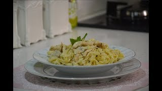 Fettuccini Alfredo | Kremalı Tavuklu Mantarlı Makarna