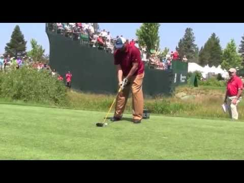 Charles Barkley tees off one handed in Celebrity golf at Tahoe South