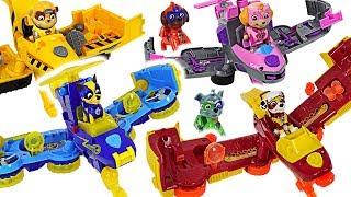 Dinosaurs attack Pororo! Paw Patrol Mighty Pups Flip & Fly Transforming Vehicle! #DuDuPopTOY