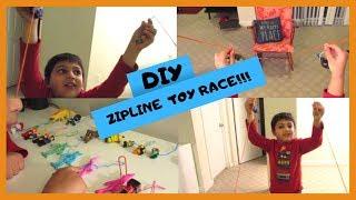ZIPLINE TOY RACE | MINIONS | THOMAS MINIS | LEGOS | DIY FUN | FAMILY FUN