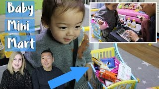 Making a mini supermarket for our toddler