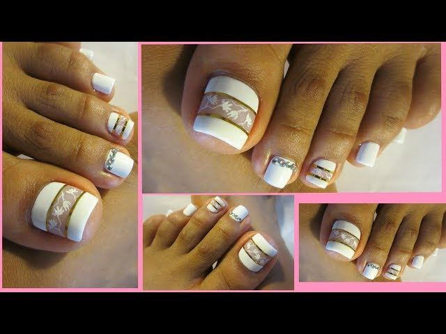 Pedicure facil de hacer en color blanco/Pedicure white design