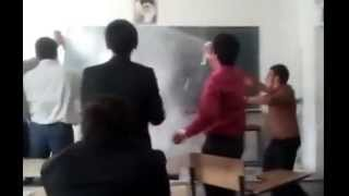 آتش گرفتن معلم سر کلاس درس توسط دانش آموزان در روز معلم ۱۳۹۱