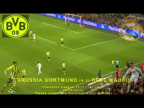 FULL 1st Leg - Borussia Dortmund vs Real Madrid 4-1 (23/04/2013) Champion League