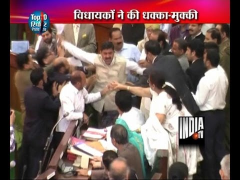 MLA fighting in jammu and kashmir assembly