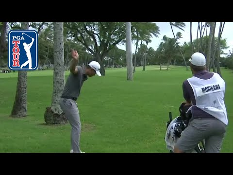 Morikawa works with caddie to save par at the Sony Open 2020