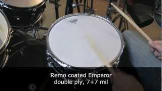 Snare drum heads sound test