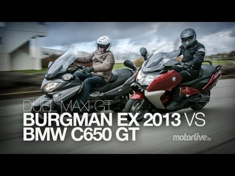 DUEL | BMW C650 GT 2013 vs SUZUKI BURGMAN 650 Executive 2013 !