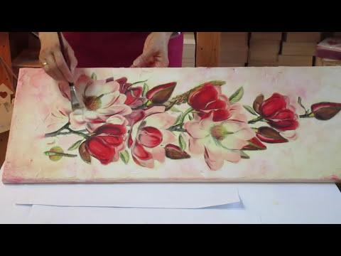 Decoupage tutorial - DIY. Decoupage on canvas. How to make canvas art