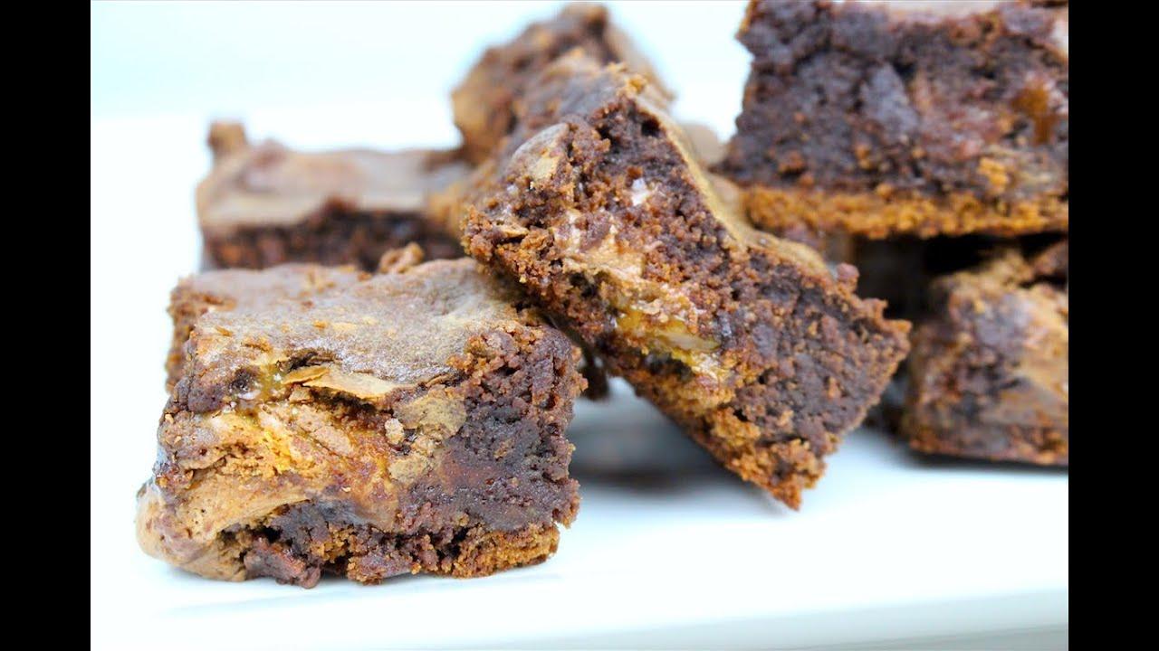 Nutella & Caramel Fudge Brownies - YouTube