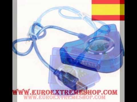 ADAPTADOR MANDO PS1 PS2 PSX PSOne PARA PS3 o PC     USB 2 MANDOS DUAL MULTIPLAYER 2 en 1 + CD