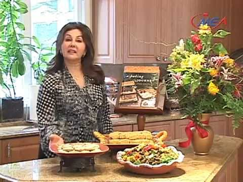 Middle Eastern recipes, cheese and olive bread, warm vegetable salad, funnel seeds cookies