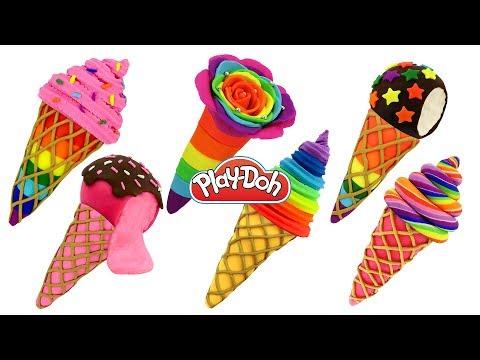 Пластилин Play Doh Лепим Мороженое Поделки для детей из пластилина Плей До своими руками Игрушки +1