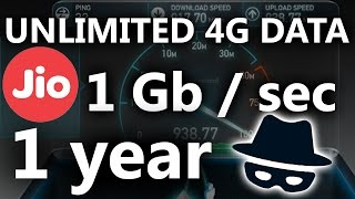UNLIMITED 4G DATA with 1 gbps Speed on Reliance Jio  for 1 year 100% working on Any 4G Android Phone