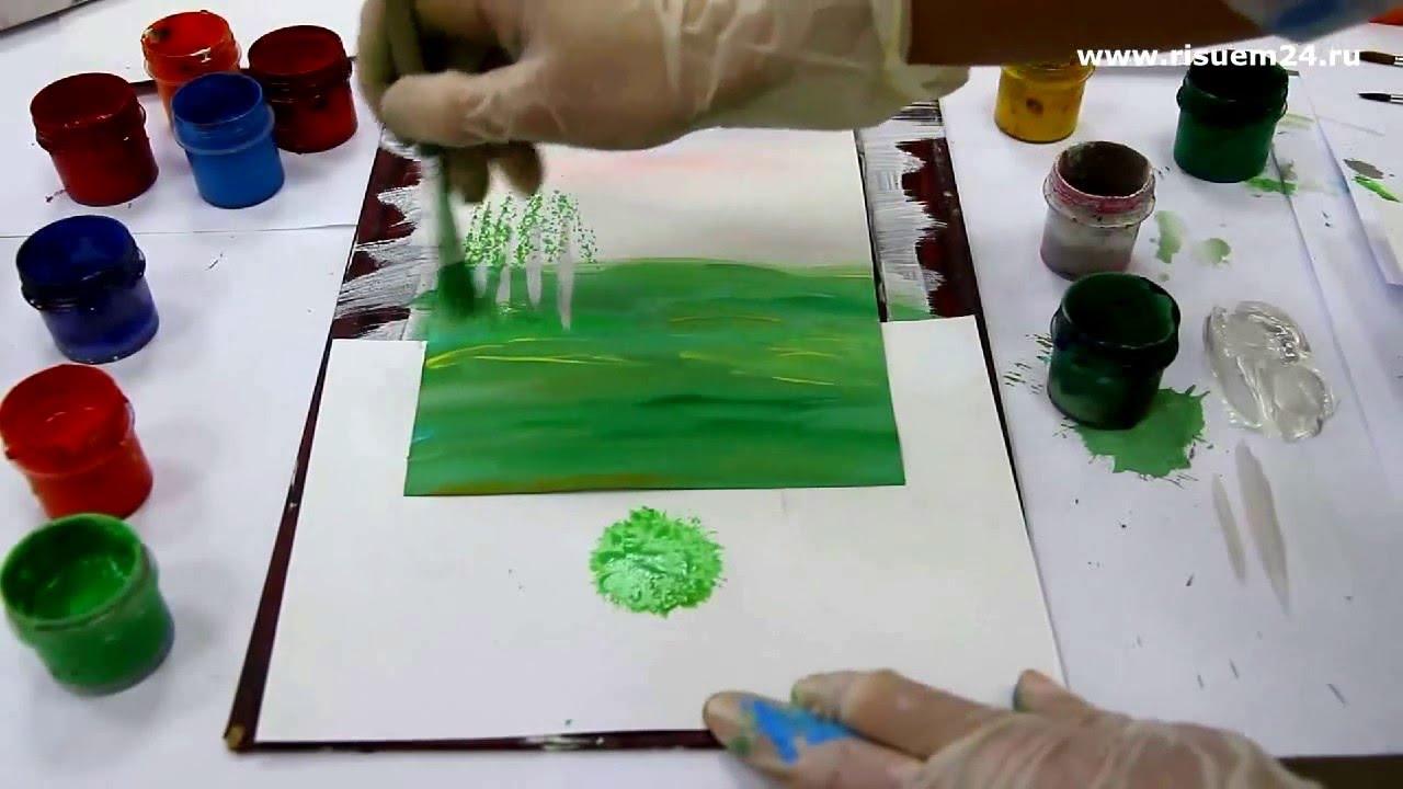 Как нарисовать ель и березу