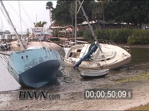 1/1/2006 Extreme low tide footage, Sarasota, FL Boats At Low Tide