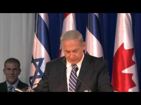 Harper and Netanyahu deliver remarks in Israel