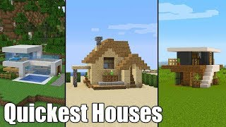 Quickest Minecraft Houses for New Players / Build Tutorial