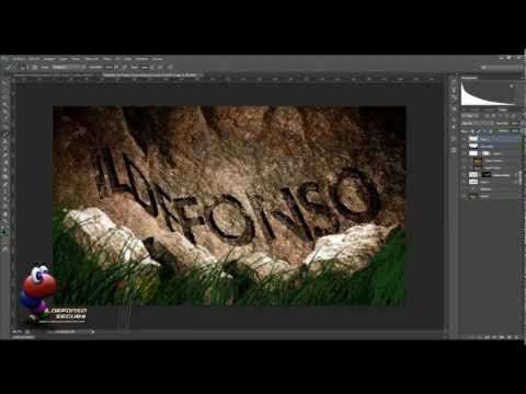 Tutorial photoshop cs6: Wallpaper Texto esculpido en Roca