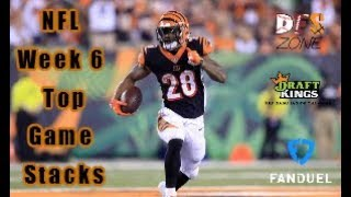 NFL Week 6 Top Game Stacks Fanduel + Draftkings