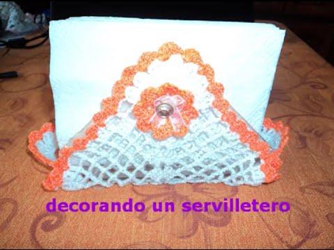 IDEA PARA DECORAR UN SERVILLETERO A GANCHILLO ((PARTE 2 DE 2))
