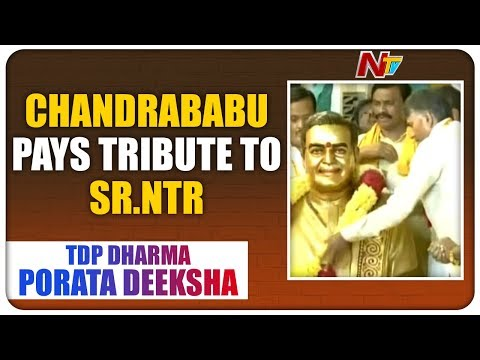 Chandrababu Pays Tribute To Sr.NTR at TDP Dharma Porata Deeksha | NTV