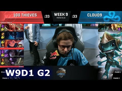 100 Thieves vs Cloud 9 | Week 9 Day 1 S8 NA LCS Summer 2018 | 100 vs C9 W9D1