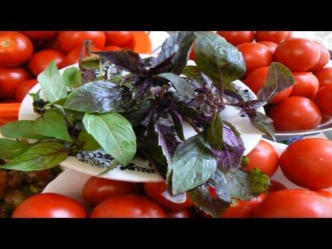 Как консервировать помидоры с виноградом и базиликом.