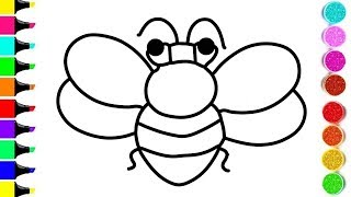 BEE Drawing And Coloring For KIDS ! INSECTS Coloring Videos ! KIDS Learn Color