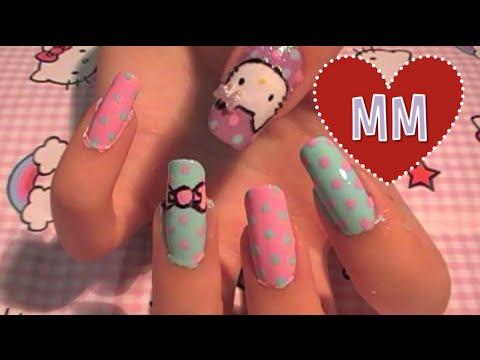Polka Dot Hello Kitty Nail Tutorial
