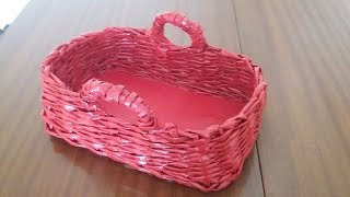 Gazete kağıdıyla dikdörtgen sepet yapımı / Rectangle basket with old newspaper