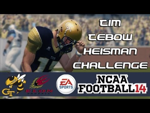 NCAA Football 14 Heisman Challenge Mode: Tim Tebow EP1 - Running the Option (Week 1 vs. Elon)