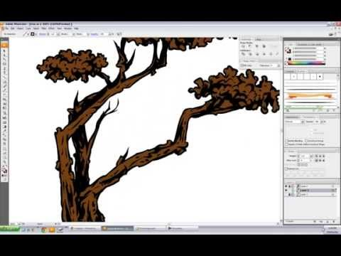 Vector Tree Free-Hand Speed Drawing - Illustrator