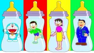 Doraemon Nobita Nobi Nobisuke Tamako Change Baby Bottle, Learn Colors with Finger Family