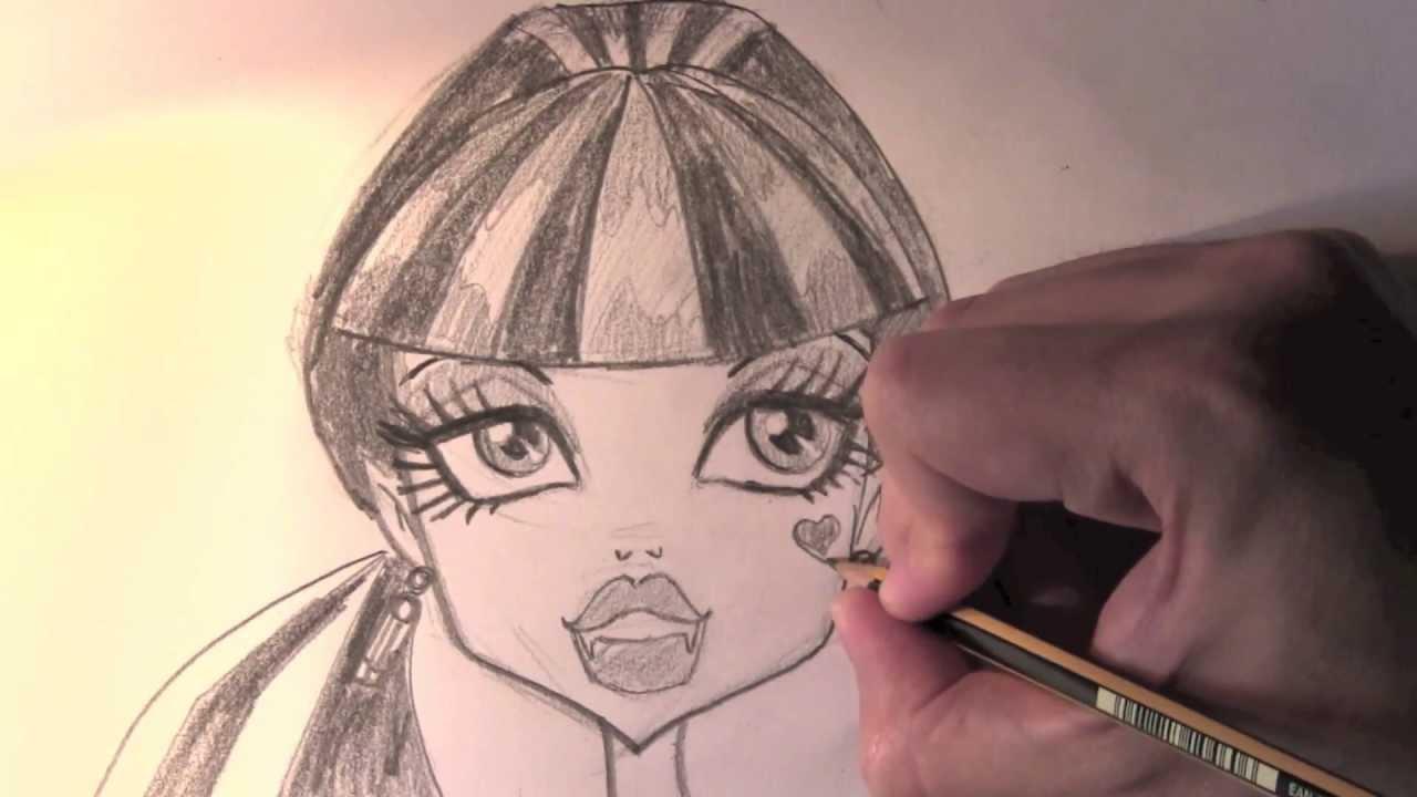 Comment dessiner draculaura etape par etape dessins de monster high youtube - Dessiner monster high ...