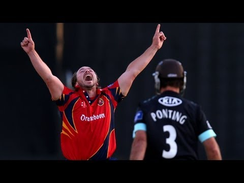 Essex thrashed Surrey in Yorkshire Bank 40 as Graham Napier took seven wickets including four in successive balls.