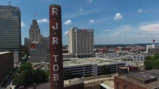 Aerial/ Ground footage of Downtown Winston Salem, NC