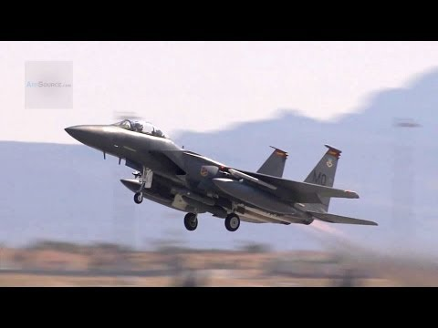 F-15E Strike Eagle Pre-Flight Check, Taxiing, Takeoff. Mountain Home AFB Red Flag 12-3   AiirSource