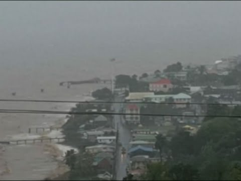 Raw: Tropical Storm Erika Pummels Dominica